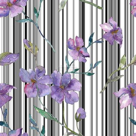 Photo pour Fleur botanique lin bleue et violette. Feuille de printemps sauvage isolé. Illustration aquarelle ensemble. Dessin aquarelle de mode aquarelle. Motif de fond transparente. Impression texture de tissu papier peint. - image libre de droit