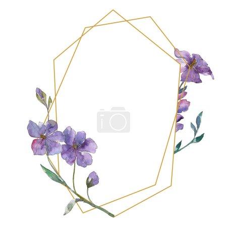 Foto de Azul y púrpura lino floral Botánica Flores. Wildflower de hoja de primavera salvaje aislado. Conjunto de ilustración de fondo de acuarela. Aquarelle de moda dibujo de acuarela. Plaza de ornamento de frontera marco. - Imagen libre de derechos