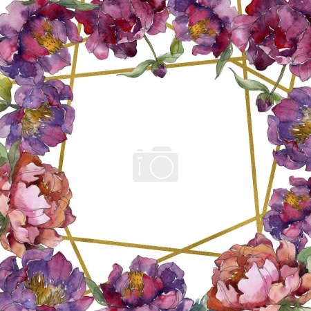 Photo pour Fleur botanique floral pivoine pourpre. Wildflower de feuille de printemps sauvage isolé. Aquarelle de fond illustration ensemble. Aquarelle de mode dessin aquarelle isolé. Place de cadre bordure ornement - image libre de droit