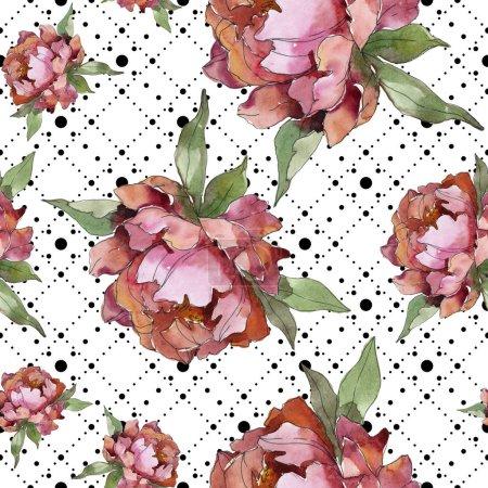 Foto de Conjunto de ilustración acuarela de peonías color púrpura. Patrón de fondo transparente. Textura impresión de papel pintado de tela. - Imagen libre de derechos