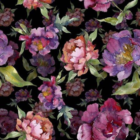 Photo pour Pivoines violettes aquarelle ensemble d'illustration. Modèle de fond sans couture. Texture d'impression papier peint tissu . - image libre de droit
