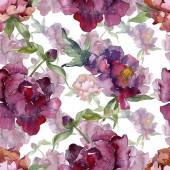 """Постер, картина, фотообои """"Фиолетовый пионов Акварельные иллюстрации набора. Бесшовный фон узор. Обои для рабочего стола ткань печати текстуры"""""""