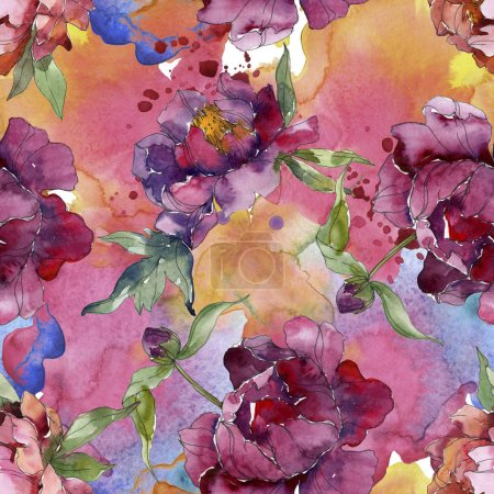 Photo for Purple peonies watercolor illustration set. Seamless background pattern. Fabric wallpaper print texture. - Royalty Free Image