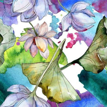 blaue und violette Lotusblüten mit Blättern. Aquarell-Illustrationsset vorhanden. nahtlose Hintergrundmuster. Stoff Tapete drucken Textur.