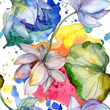 Photo pour Lotus bleu et violet avec des feuilles. Ensemble d'illustration aquarelle. Modèle de fond sans couture. Texture d'impression papier peint tissu . - image libre de droit