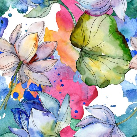 Photo for Blue and purple lotuses with leaves. Watercolor illustration set. Seamless background pattern. Fabric wallpaper print texture. - Royalty Free Image