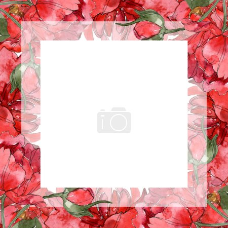 Photo for Red peonies watercolor background illustration set isolated on white. Frame border ornament. - Royalty Free Image