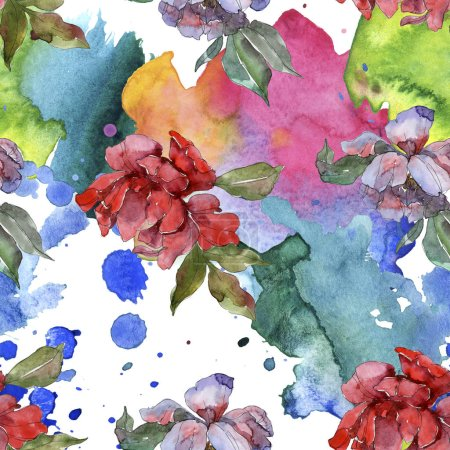 Photo for Red and purple peonies. Watercolor illustration set. Seamless background pattern. Fabric wallpaper print texture. - Royalty Free Image