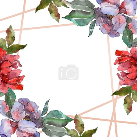 Photo for Red and purple peonies. Watercolor background illustration set. Frame border ornament with copy space. - Royalty Free Image