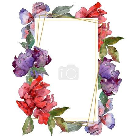 Photo pour Pivoines rouges et violets. Aquarelle de fond illustration ensemble. Ornement de bordure cadre avec espace copie. - image libre de droit