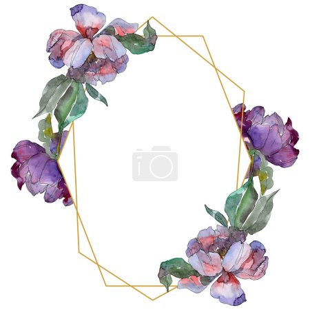 Photo for Purple peonies. Watercolor background illustration set. Frame border ornament with copy space. - Royalty Free Image