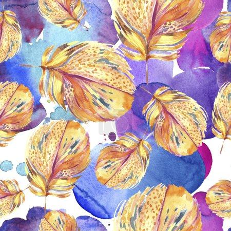 Photo for Colorful bird feather from wing. Watercolor background illustration set. Watercolour drawing fashion aquarelle isolated. Seamless background pattern. Fabric wallpaper print texture. - Royalty Free Image