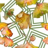 """Постер, картина, фотообои """"Зеленый желтый гинкго билоба листьев растений ботанических листва. Набор акварели иллюстрации. Акварель рисования моды акварель изолированы. Бесшовный фон узор. Обои для рабочего стола ткань печати текстуры."""""""