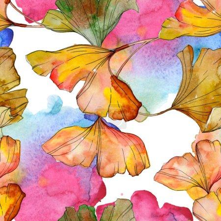grün gelbes Ginkgo biloba Blatt Pflanze botanisches Laub. Aquarell-Illustrationsset vorhanden. Aquarellzeichnung Modeaquarell isoliert. nahtlose Hintergrundmuster. Stoff Tapete drucken Textur.