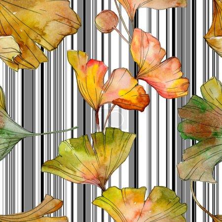 Photo pour Feuillage botanique de plantes du vantail biloba ginkgo jaune vert. Illustration aquarelle ensemble. Aquarelle de mode dessin aquarelle isolé. Motif de fond transparente. Impression texture de tissu papier peint. - image libre de droit