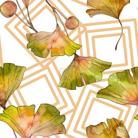 Photo for Green yellow ginkgo biloba leaf plant botanical foliage. Watercolor illustration set. Watercolour drawing fashion aquarelle isolated. Seamless background pattern. Fabric wallpaper print texture. - Royalty Free Image
