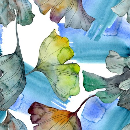 Ginkgo biloba leaf plant botanical garden floral foliage. Watercolor illustration set. Watercolour drawing fashion aquarelle isolated. Seamless background pattern. Fabric wallpaper print texture.