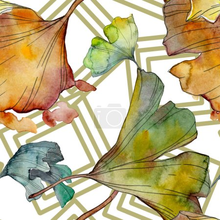 Photo for Ginkgo biloba leaf plant botanical garden floral foliage. Watercolor illustration set. Watercolour drawing fashion aquarelle isolated. Seamless background pattern. Fabric wallpaper print texture. - Royalty Free Image