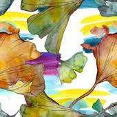 """Постер, картина, фотообои """"Гинкго билоба листьев растений Ботанический сад цветочный листвы. Набор акварели иллюстрации. Акварель рисования моды акварель изолированы. Бесшовный фон узор. Обои для рабочего стола ткань печати текстуры"""""""