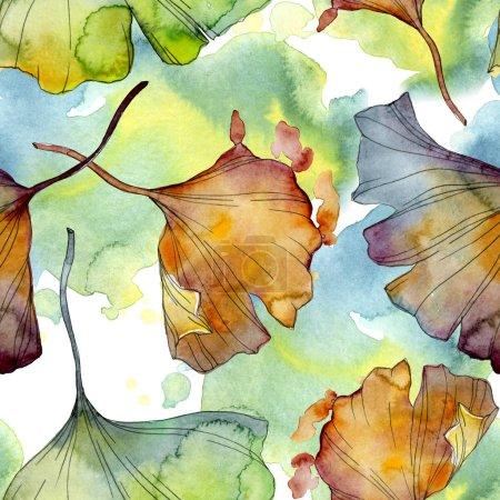 Photo pour Ginkgo biloba feuille plante botanique jardin feuillage floral. Ensemble d'illustration aquarelle. Aquarelle dessin mode aquarelle isolé. Modèle de fond sans couture. Texture d'impression papier peint tissu . - image libre de droit