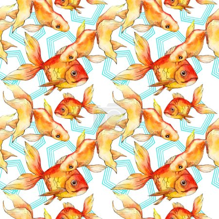 Photo for Watercolor aquatic colorful goldfishes with geometrical figures isolated on white illustration set. Seamless background pattern. Fabric wallpaper print texture. - Royalty Free Image