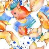 """Постер, картина, фотообои """"Акварель водной красочные Золотые рыбки с красочные иллюстрации абстрактный. Бесшовный фон узор. Обои для рабочего стола ткань печати текстуры"""""""