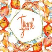 """Постер, картина, фотообои """"Иллюстрация акварель водной красочные Золотые рыбки, изолированные на белом. Орнамент границы кадра с буквами Спасибо."""""""