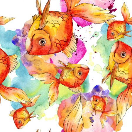 Photo for Watercolor aquatic colorful goldfishes with colorful abstract illustration. Seamless background pattern. Fabric wallpaper print texture. - Royalty Free Image