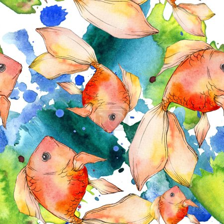 Watercolor aquatic colorful goldfishes with colorful abstract illustration. Seamless background pattern. Fabric wallpaper print texture.