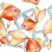 """Постер, картина, фотообои """"Набор акварели водной красочные Золотые рыбки, изолированные на белом иллюстрации. Бесшовный фон узор. Обои для рабочего стола ткань печати текстуры."""""""
