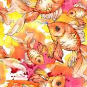 """Постер, картина, фотообои """"Акварель водной красочные Золотые рыбки с красочные иллюстрации абстрактный. Бесшовный фон узор. Обои для рабочего стола ткань печати текстуры."""""""