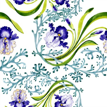 Photo for Blue iris floral botanical flower. Wild spring leaf isolated. Watercolor illustration set. Watercolour drawing fashion aquarelle. Seamless background pattern. Fabric wallpaper print texture. - Royalty Free Image