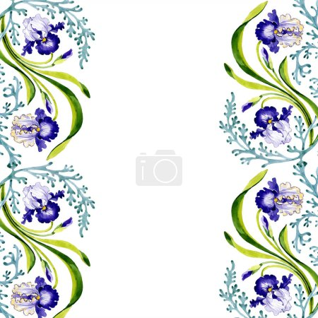 Photo for Blue iris floral botanical flower. Wild spring leaf wildflower isolated. Watercolor background illustration set. Watercolour drawing fashion aquarelle. Frame border ornament square. - Royalty Free Image