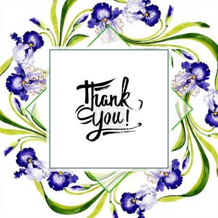 Photo pour Fleur botanique floral iris versicolore. Wildflower de feuille de printemps sauvage isolé. Aquarelle de fond illustration ensemble. Dessin aquarelle de mode aquarelle. Place de cadre bordure ornement. - image libre de droit