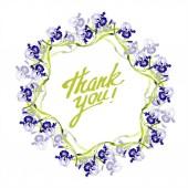 """Постер, картина, фотообои """"Цветочные ботанические цветок Голубой Ирис. Дикие весны листьев Уайлдфлауэр изолированы. Акварель фон иллюстрации набора. Рисования акварелью моды акварель. Площадь орнамент границы кадра"""""""