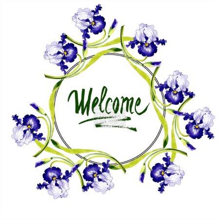 Flor botánica floral de iris azul. Flor silvestre de hoja de primavera aislada. Conjunto de ilustración de fondo acuarela. Acuarela dibujo moda aquarelle. Marco borde ornamento cuadrado .