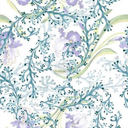 Botanische Blume der blauen Iris. wildes Frühlingsblatt isoliert. Aquarell-Illustrationsset vorhanden. Aquarell zeichnen Mode-Aquarell. nahtlose Hintergrundmuster. Stoff Tapete drucken Textur.