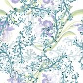 """Постер, картина, фотообои """"Цветочные ботанические цветок Голубой Ирис. Дикие весны листьев изолированы. Набор акварели иллюстрации. Рисования акварелью моды акварель. Бесшовный фон узор. Обои для рабочего стола ткань печати текстуры."""""""