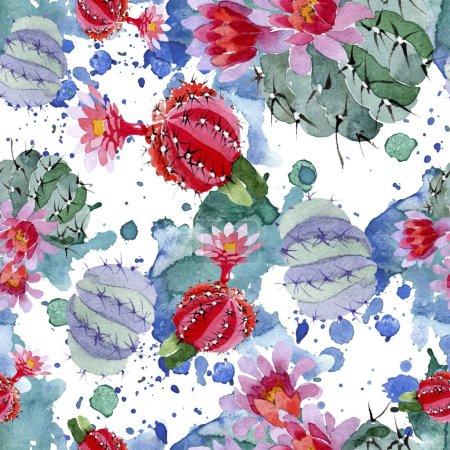 Photo pour Ensemble d'illustration aquarelle cactus vert et rouge. Motif de fond transparente. Impression texture de tissu papier peint. - image libre de droit