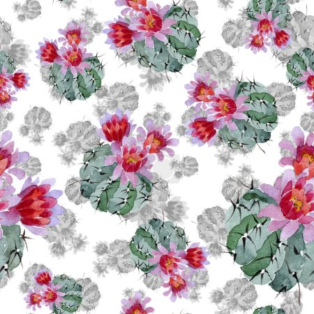 Photo for Green and red cacti watercolor illustration set.  Seamless background pattern. Fabric wallpaper print texture. - Royalty Free Image
