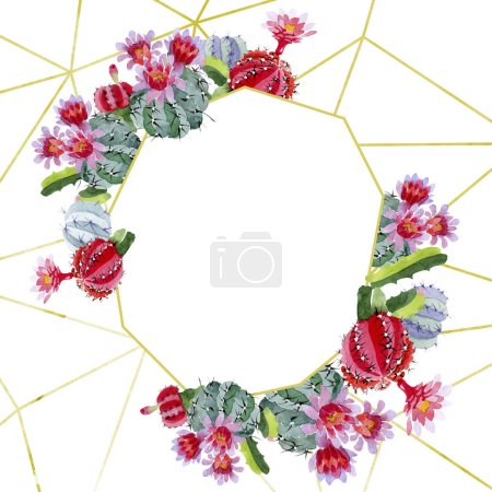 Photo for Green and red cacti with flowers isolated on white. Watercolor background illustration set. Frame border ornament with copy space. - Royalty Free Image