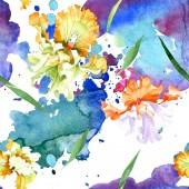 """Постер, картина, фотообои """"Цветочные ботанические цветок оранжевый белый Ирис. Дикие весны листьев изолированы. Набор акварели иллюстрации. Рисования акварелью моды акварель. Бесшовный фон узор. Обои для рабочего стола ткань печати текстуры"""""""