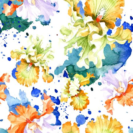 Photo for Orange white iris floral botanical flower. Wild spring leaf isolated. Watercolor illustration set. Watercolour drawing fashion aquarelle. Seamless background pattern. Fabric wallpaper print texture. - Royalty Free Image