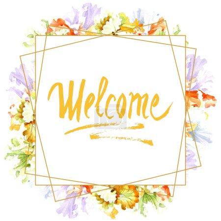 Photo pour Fleur botanique floral iris blanc orange. Wildflower de feuille de printemps sauvage isolé. Aquarelle de fond illustration ensemble. Aquarelle de mode dessin aquarelle isolé. Place de cadre bordure ornement. - image libre de droit