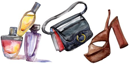 Photo for Perfume, bag and shoe sketch fashion glamour illustration in a watercolor style isolated element. Clothes accessories set trendy vogue outfit. Watercolour background illustration set. - Royalty Free Image
