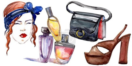 Girl, perfume, shoe and bag sketch fashion glamour illustration in a watercolor style isolated element. Clothes accessories set trendy vogue outfit. Watercolour background illustration set.