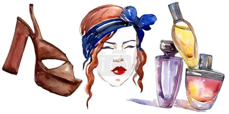 Girl, perfume and shoe sketch fashion glamour illustration in a watercolor style isolated element. Clothes accessories set trendy vogue outfit. Watercolour background illustration set.