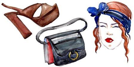 Photo pour Fille, chaussure et sac croquis mode glamour illustration dans un style aquarelle élément isolé. Vêtements accessoires ensemble tenue vogue à la mode. Ensemble d'illustration de fond aquarelle . - image libre de droit