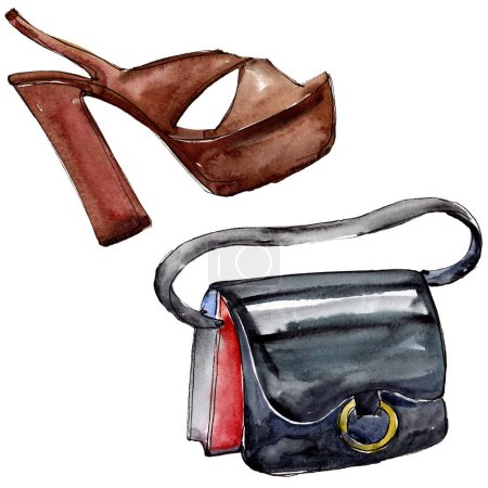 Photo for Bag and shoe sketch fashion glamour illustration in a watercolor style isolated element. Clothes accessories set trendy vogue outfit. Watercolour background illustration set. - Royalty Free Image