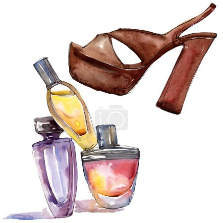 Photo for Shoe and perfume sketch fashion glamour illustration in a watercolor style isolated element. Clothes accessories set trendy vogue outfit. Watercolour background illustration set. - Royalty Free Image